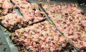 Exotic Rose, Pistachio and Cardamom Chocolate Bark with Rose syrup