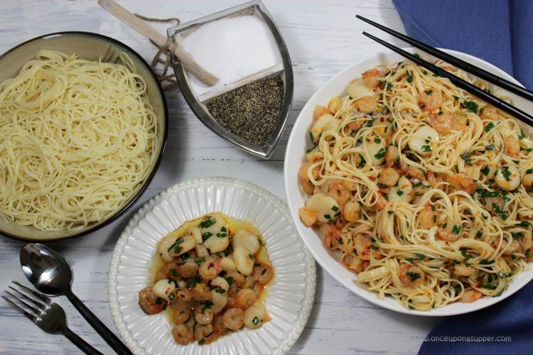 Shrimp and Scallop Scampi with Angel Hair Pasta