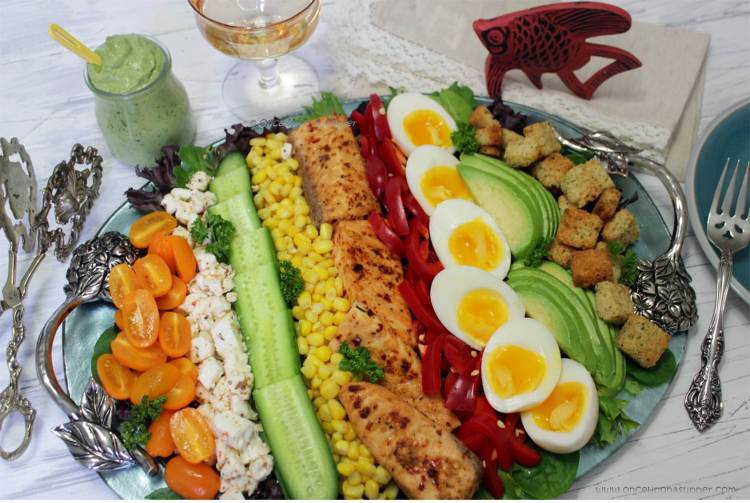 Pan Seared Salmon Cobb Salad — the main-dish salad and happy times