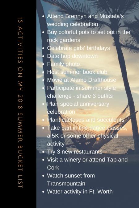 15 Activities On My 2018 Summer Bucket List