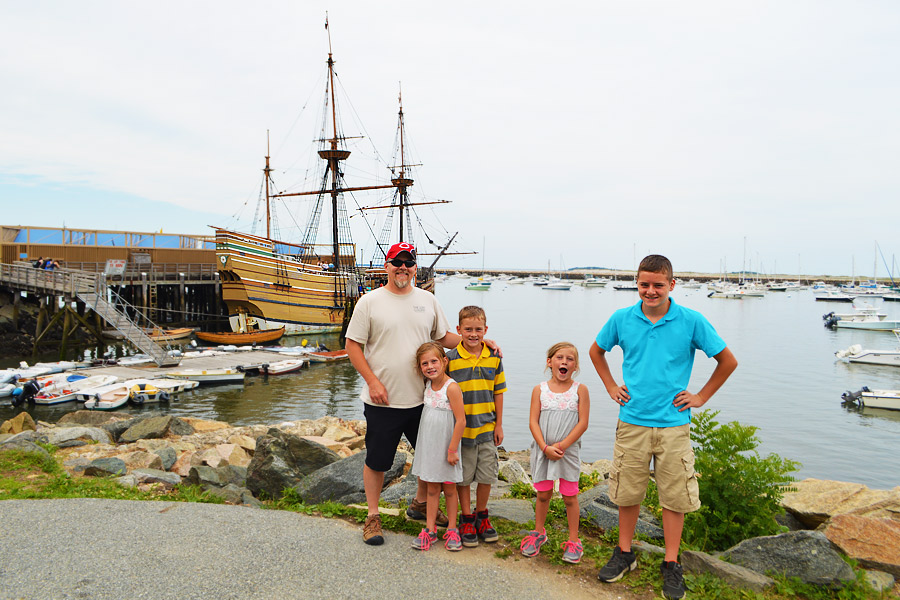 Bill & kids at Mayflower II