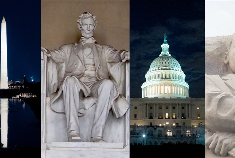 DC monuments at night & day collage