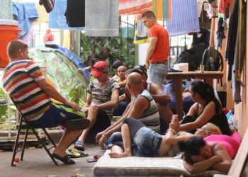 Cuban migrants in a shelter in Los Planes de Gualaca, Panama. Photo: La Estrella de Panamá.