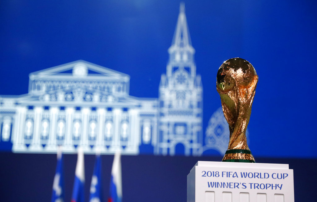 7ec1e9340 The World Cup trophy during the FIFA Congress just before the Championship s  inauguration in Moscow
