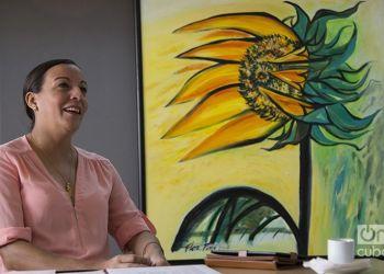 Lizt Alfonso during an interview at OnCuba, Havana. Photo: Regino Sosa.