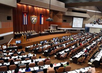 General view of the constitutive session of the 9th Legislature of the Cuban National Assembly of People's Power. Photo: Alejandro Ernesto / EFE.