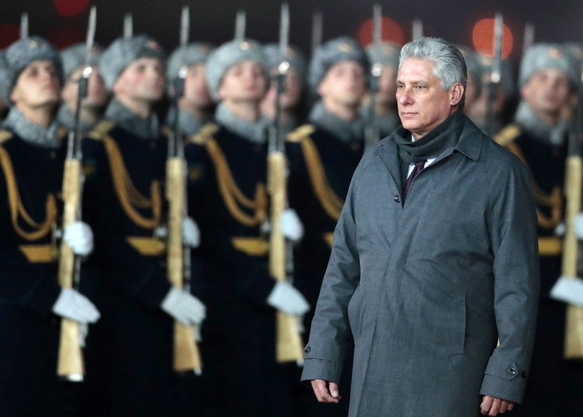 Cuban President, Miguel Diaz-Canel during the ceremony to welcome him on his arrival at the Moscow-Vnukovo International Airport, on November 1, 2018. Photo: Sergei Chirikov / EFE.