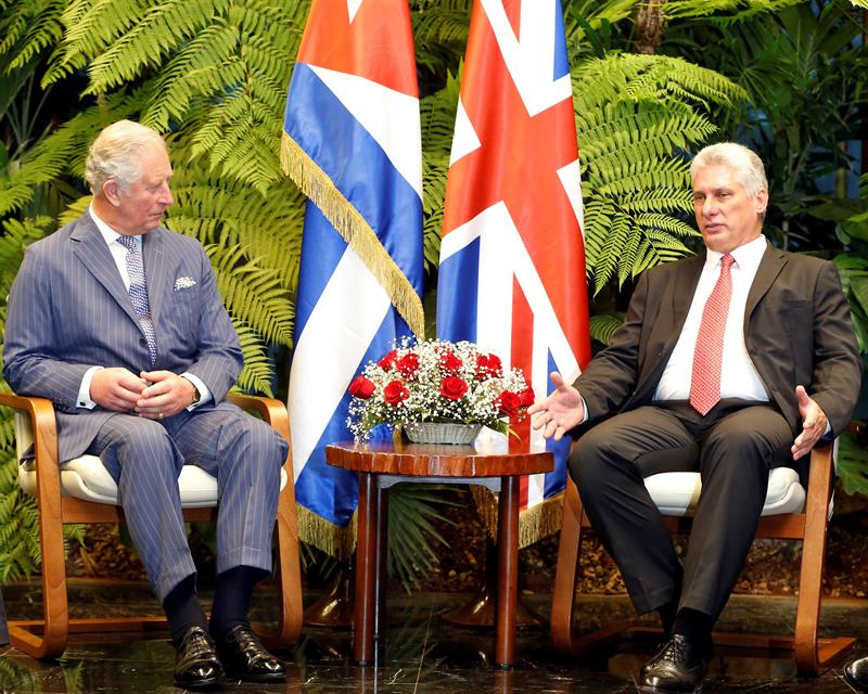 Meeting between Prince Charles and Cuban President Miguel Díaz-Canel, in Havana, March 25, 2019. Photo: EFE.