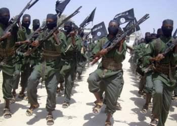 Al-Shabaab forces on the outskirts of Mogadishu. Photo: Mohamed Sheikh Nor/AP.