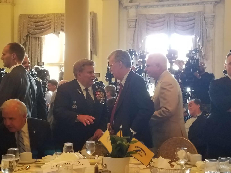 Trump's security adviser, John Bolton as he arrives at the dinner organized by the 2506 Assault Brigade, last Wednesday in Miami. Photo: Marita Pérez.