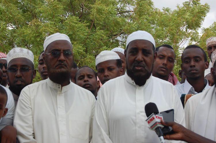 The president of the Muslim congregation of Garissa, Abdullahi Salat (right), speaks to the press on Sunday, April 14, 2019. Photo: Stephen Astariko.