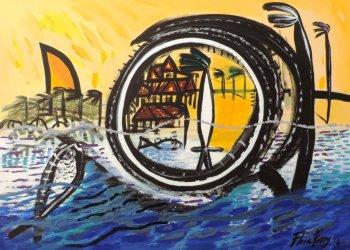 """""""Catalejo,"""" acrylic, 125 x 92cm, 2016"""