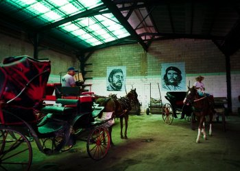 "Horse-drawn carriages used to give tours to tourists, parked in the garage of a cooperative, under the murals of Fidel Castro and Ernesto ""Che"" Guevara, in Havana, Cuba. Photo: Ramón Espinosa / AP."