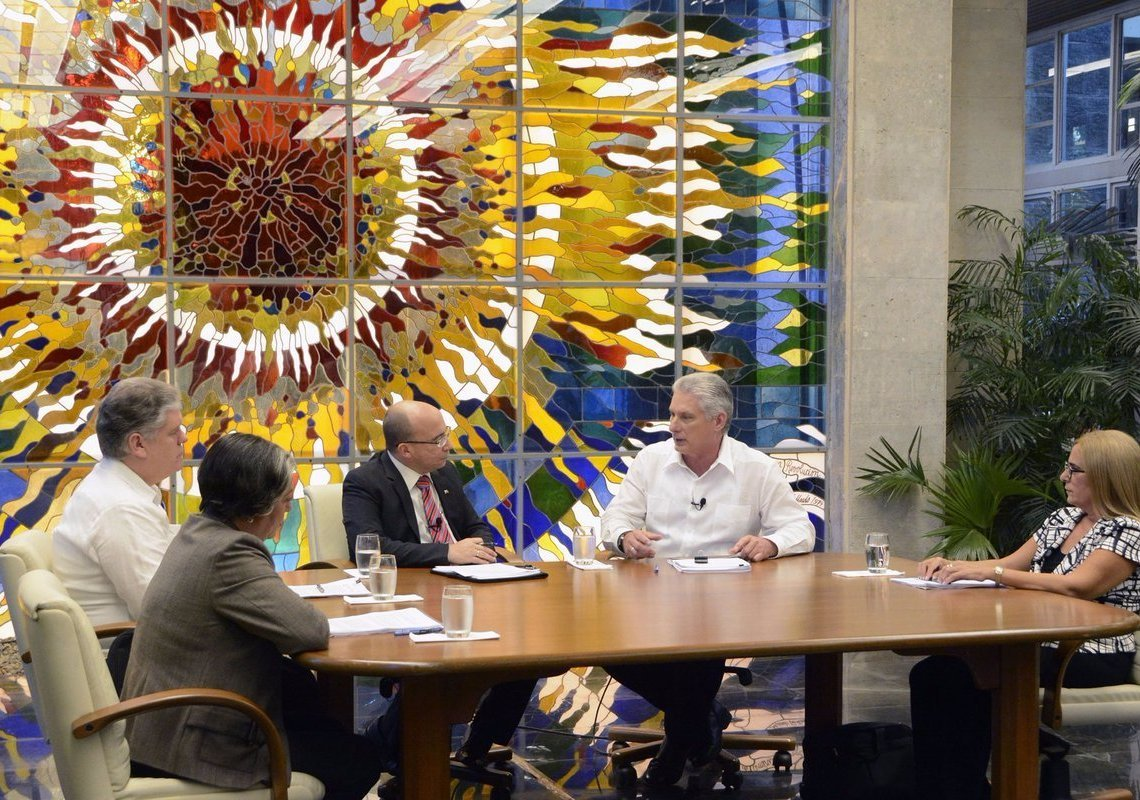 Cuban President Miguel Díaz-Canel (2-r) talks about the increase in salaries and other economic reforms in Cuba in the Mesa Redonda TV program on Tuesday, July 2, 2019. Photo: Estudios Revolución.