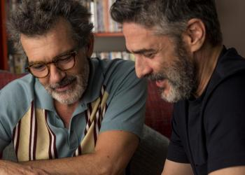 "Actors Antonio Banderas (left) and Leonardo Sbaraglia in a scene from the film ""Dolor y Gloria"" by Pedro Almodóvar. Photo: FilmAffinity."