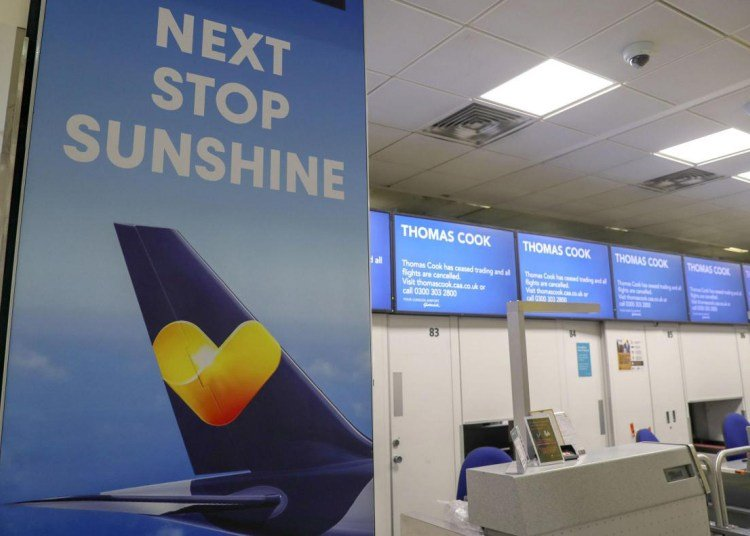 Empty check-in points of British Thomas Cook tour operator after the company's bankruptcy on Monday, September 23, 2019. Photo: readingchronicle.co.uk