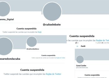 Collage of Cuban media accounts blocked on Twitter. Image: Marita Pérez Diaz.