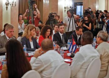 The Cuban government and the European Union held in Havana the 2nd Political Dialogue on the Imposition of Unilateral Coercive Measures, amid growing U.S. economic pressures on the island. Photo: EFE / Yander Zamora.