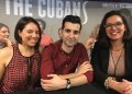 "The author of the play ""The Cubans,"" Cuban-American playwright Michael León (c); director Victoria Collado (r), and actress Ashley Álvarez (l) during an interview with EFE news agency in Miami, Florida (USA), on January 20, 2020. Photo: Ana Mengotti / EFE."