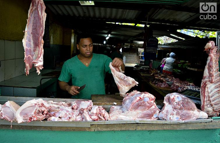 La carne de cerdo alcanza precios de boutique. Foto: Otmaro Rodríguez.