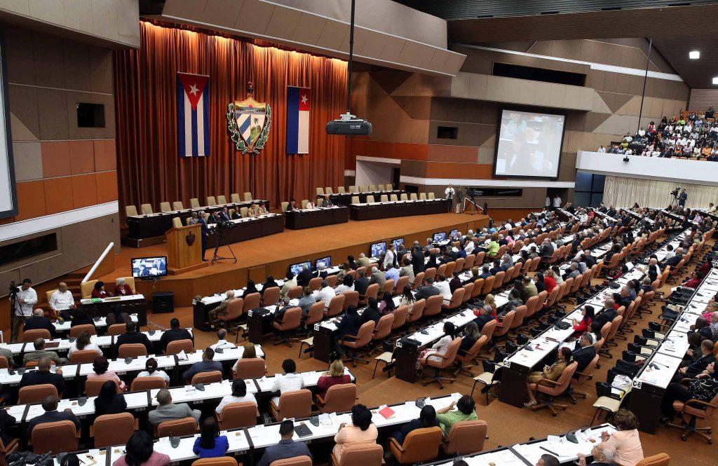 Vista general este miércoles 18 de abril de la sesión constitutiva de la IX Legislatura de la Asamblea Nacional del Poder Popular. Foto: Alejandro Ernesto / EFE.