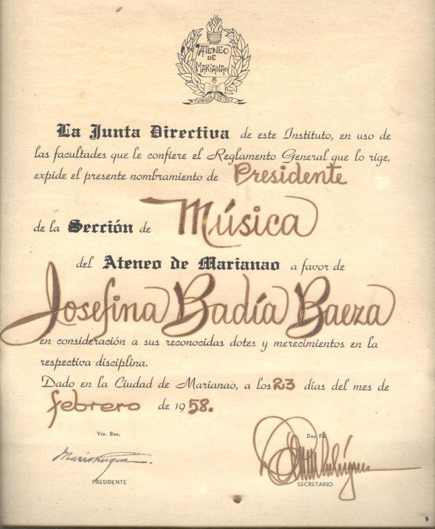 Presidenta de la Sección de Música del Ateneo de Marianao, 23 de febrero de 1958