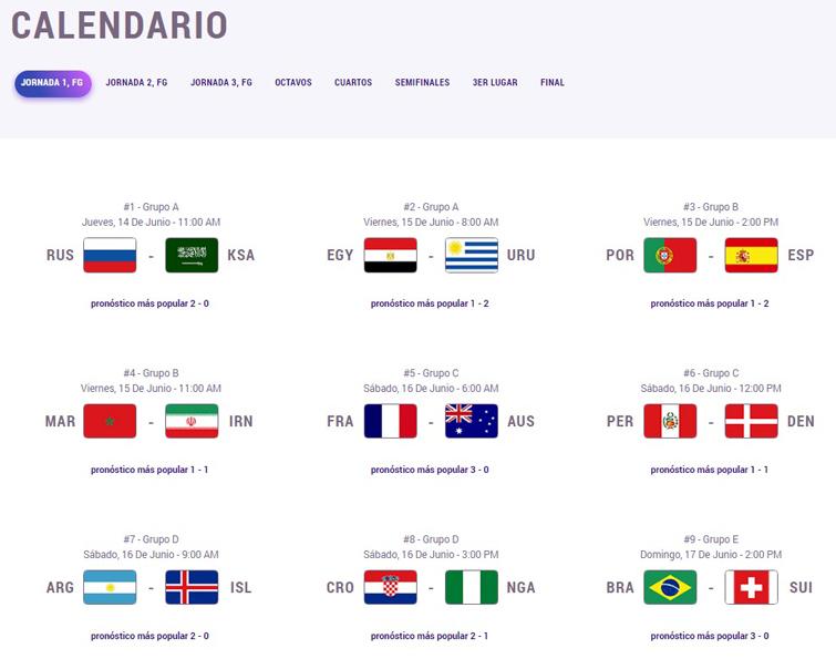 Captura de pantalla con parte del calendario del Mundial en Quiniela Cuba con los pronósticos más populares hasta el momento.