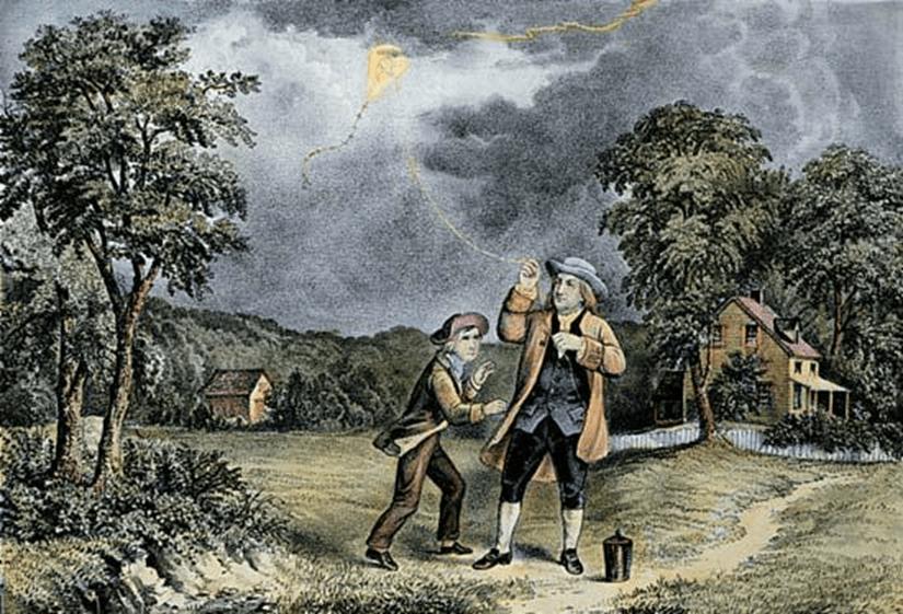Litografía que representa a Benjamin Franklin y su experimento. Currier & Ives, 1867.