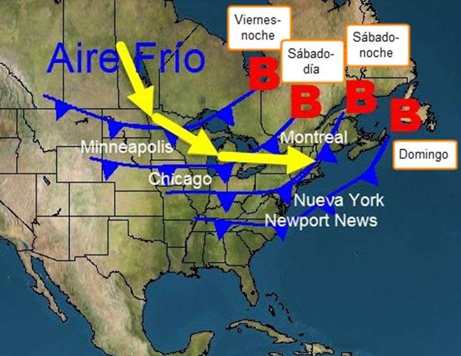 Esquema del avance de la invasión de aire frío sobre el nordeste de los Estados Unidos y el sudeste de Canadá y del frente frío que le antecede. Es un evento que no pertenece a la presente estación del año.