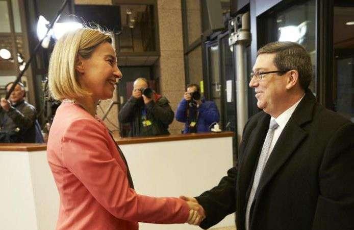 Federica Mogherini y el Ministro de Exteriores cubano Bruno Rodríguez Parrilla. Foto: Consejo Europeo.