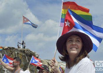 Mariela Castro, directora del Centro Nacional de Educación Sexual, durante la conga por la tolerancia, en la X Jornada Cubana contra la Homofobia y la Transfobia. Foto: Otmaro Rodríguez.