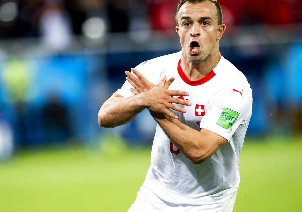 Xherdan Shaqiri after scoring the second goal for Switzerland in the 2-1 victory against Serbia in the game for Group E of the World Championship in Kaliningrad, Russia, Friday June 22, 2018. Photo: Laurent Gillieron / Keystone via AP.