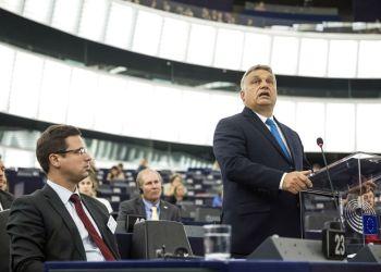 El primer ministro de Hungría, Viktor Orban, durante un discurso en el Parlamento Europeo en Estrasburgo, Francia, el 11 de septiembre de 2018. Foto: Jean-Francois Badias / AP.