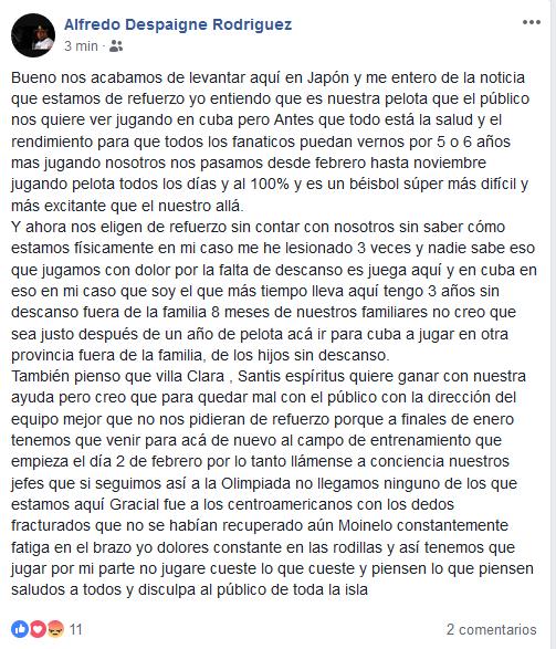 El texto íntegro de Alfredo Despaigne en Facebook.