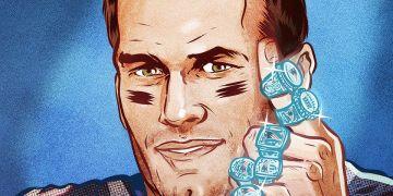 Tom Brady con sus seis anillos de NFL. Ilustración de ESPN