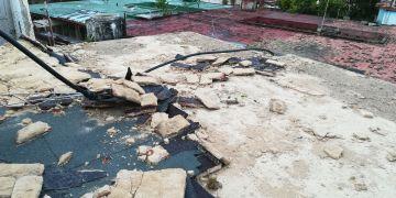 Así quedó el techo de Leslie Salgado luego del tornado del 27 de enero de 2019.