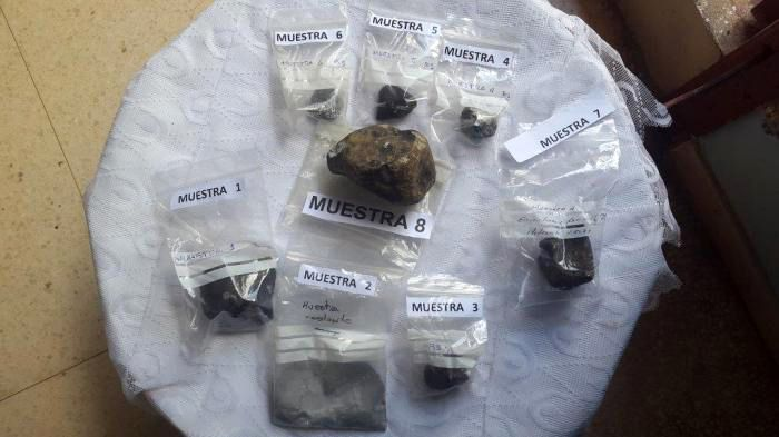 Fragmentos del meteorito caídos en Viñales el 1 de febrero de 2019, y analizados por por científicos cubanos. Foto: Argelia Fernández / Granma.