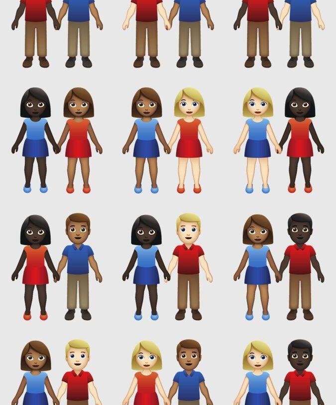 Las nuevas variaciones del emoji de pareja en una ilustración sin fecha proporcionada por Tinder/Emojination. La autoridad de los emojis Unicode Consortium aprobó 71 nuevas variaciones para los tonos de color del emoji de las parejas que serán agregadas en 2019. (Tinder/Emojination vía AP)