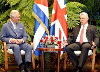 Encuentro entre el Príncipe Carlos y el presidente cubano Miguel Díaz-Canel, en La Habana, el 25 de marzo de 2019. Foto: EFE.