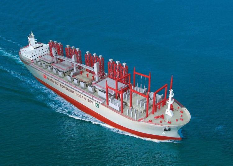 Prototipo de central eléctrica flotante construida por la empresa turca Karadeniz Holding. Imagen: reinhausen.com