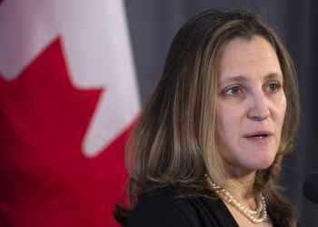 La ministra de Relaciones Exteriores de Canadá, Chrystia Freeland. Foto: Paul Chiasson / The Canadian Press.