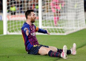 Lionel Messi tras marcar el tercer gol del Barcelona en el partido ante Liverpool en las semifinales de la Liga de Campeones, el miércoles 1 de mayo de 2019. Foto: Manu Fernández / AP.
