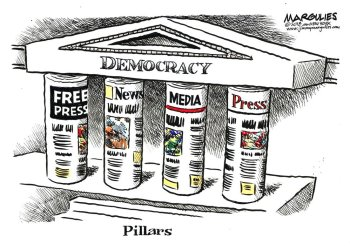 """Pillars"" del caricaturista de King Features Jimmy Margulies en una imagen proporcionada por Jimmy Margulies. La pieza forma parte de la exposición ""Front Line: Editorial Cartoonists and the First Amendment"" abierta al público hasta octubre en la Biblioteca y Museo de la Caricatura Billy Ireland de Ohio State University en Columbus, Ohio. Foto: Jimmy Margulies vía AP."