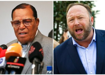 Louis Farrakhan, en Teherán, Irán, el 8 de noviembre de 2018 (izquierda), y a Alex Jones en Washington el 5 de septiembre de 2018. Foto: AP.