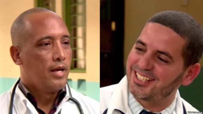 Los doctores cubanos Assel Herrera (izq) y Landy Rodríguez (der), secuestrados el 12 de abril en Kenia, presuntamente por militantes del grupo extremista Al Shabab. Foto: Captura de pantalla editada.