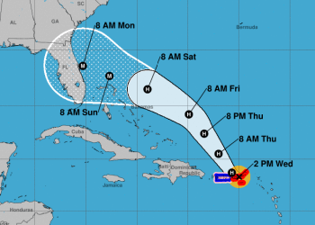 Cono de trayectoria pronosticada de la tormenta Dorian, ya convertida en huracán, el miércoles 28 de agosto de 2019. Infografía: nhc.noaa.gov