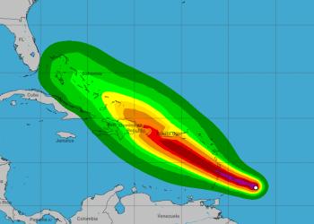 Impacto pronosticado de la tormenta tropical Dorian en las Antillas. Infografía: nhc.noaa.gov
