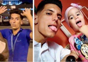 En este montaje, a la izquierda el joven García Duarte a su llegada a Miami a la derecha con su hija menor. Imágenes: Facebook.