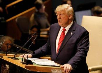 El presidente estadounidense Donald Trump habla ante la Asamblea General de la ONU, en Nueva York, el 24 de septiembre de 2019. Foto: Peter Foley / EFE.