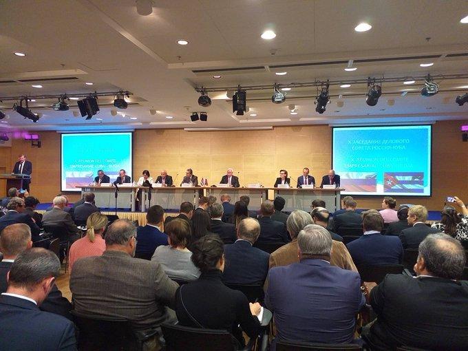 Décima sesión del Comité Empresarial Cuba-Rusia, celebrada en Moscú el 18 de septiembre de 2019. Foto: @EmbacubaRusia / Twitter.